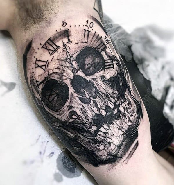 Amazing Mens Badass Skull Clock Inner Arm Bicep Tattoo Designs