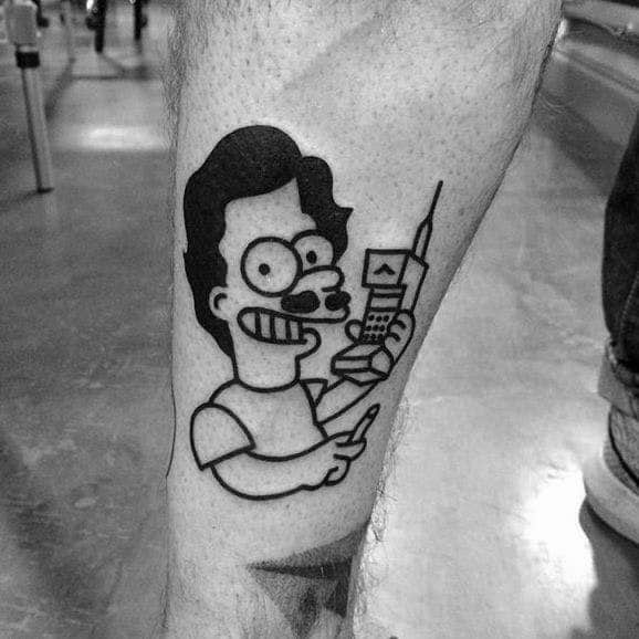 Amazing Mens Bart Pablo Escobar Themed Simpsons Tattoo Designs