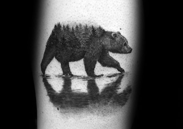 Amazing Mens Bear Tree Line Tattoo Designs