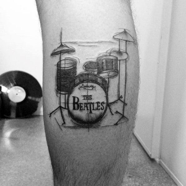 Amazing Mens Beatles Drum Set Leg Calf Tattoo Designs