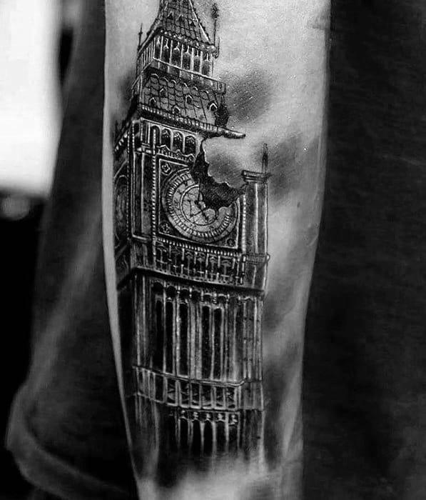 Amazing Mens Big Ben Tattoo Designs On Forearm