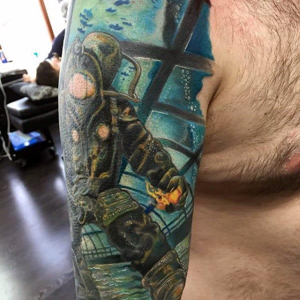Amazing Mens Bioshock Underwater Themed Half Sleeve Tattoo