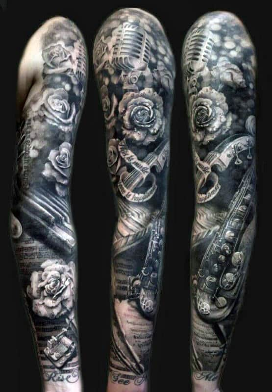 Amazing Mens Black And Grey Ink Full Music Sleeve Tattoo