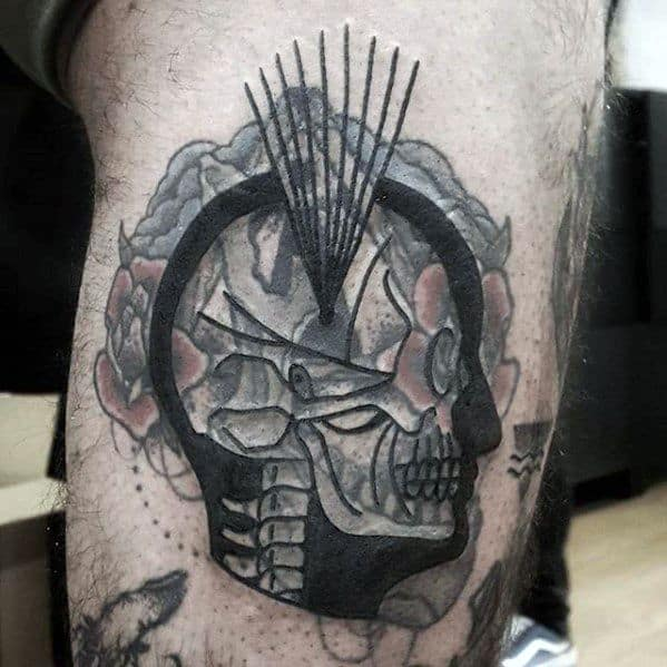 Amazing Mens Blast Over Skull Leg Tattoo Designs