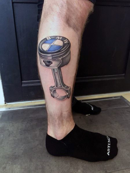 Amazing Mens Bmw Tattoo Designs Piston Themed