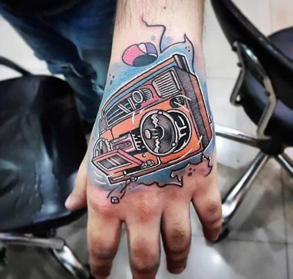 Amazing Mens Boombox Hand Tattoos
