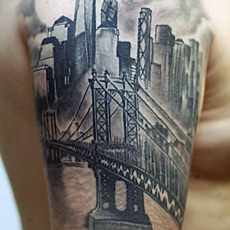 Amazing Mens Brooklyn Bridge Quarter Sleeve Tattoo