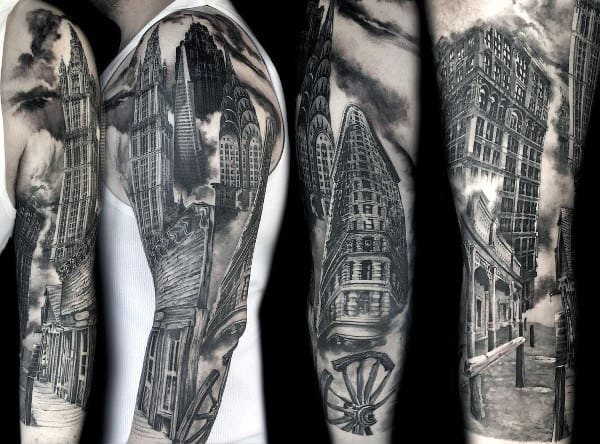 Amazing Mens Building Realistic Sleeve Tattoos