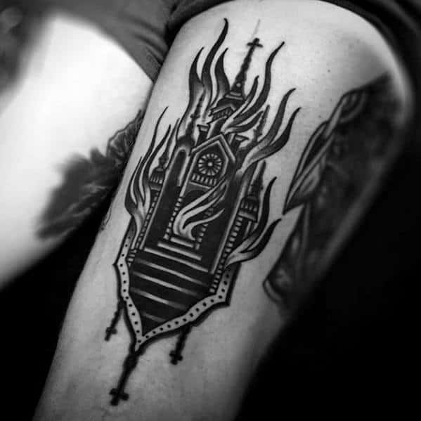 Amazing Mens Burning Church Tattoo Designs