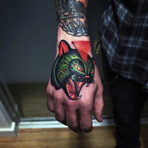 Amazing Mens Cat Hand Tattoo Design