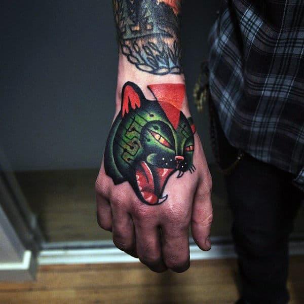 Amazing Mens Cat Hand Tattoo Design