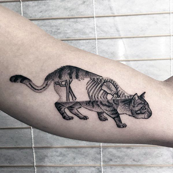 Amazing Mens Cat Skeleton Inner Arm Bicep Tattoo Designs