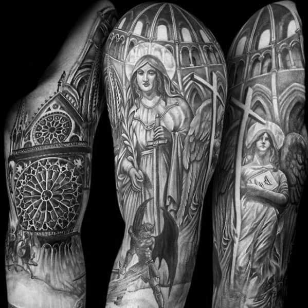 Amazing Mens Cathedral Tattoo Designs