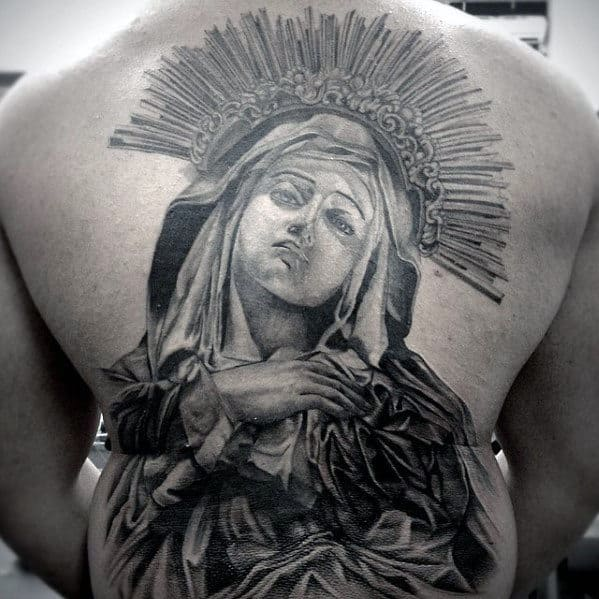 Amazing Mens Catholic Mother Mary Full Back Tattoo
