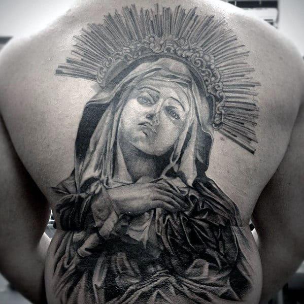 Amazing Mens Catholic Mother Mary Full Back Tattoo