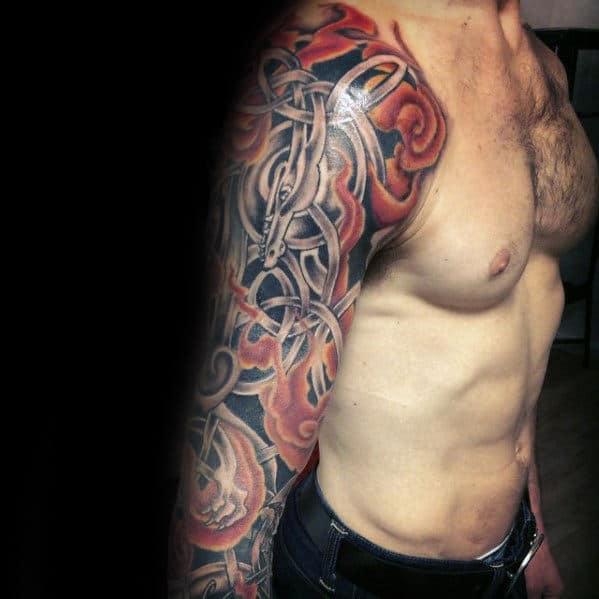 Amazing Mens Celtic Dragon Fire Flames Full Arm Sleeve Tattoo