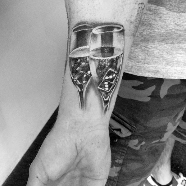 40 champagne tattoo ideas for men bottle and glass designs. Black Bedroom Furniture Sets. Home Design Ideas