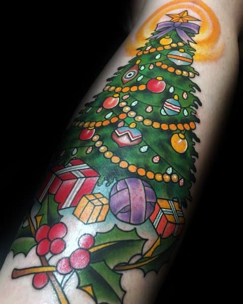 Christmas Tree Tattoo Ideas.30 Christmas Tree Tattoo Ideas For Men Evergreen Designs