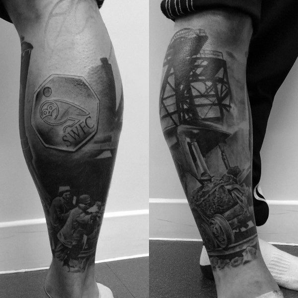 Amazing Mens Coal Mining Tattoo Designs