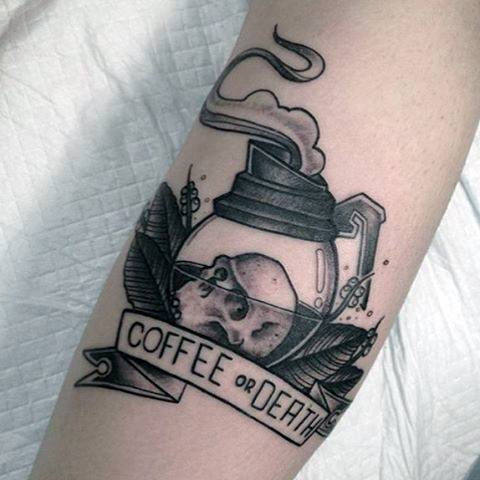 Amazing Mens Coffee Or Death Skull Forearm Tattoo Designs