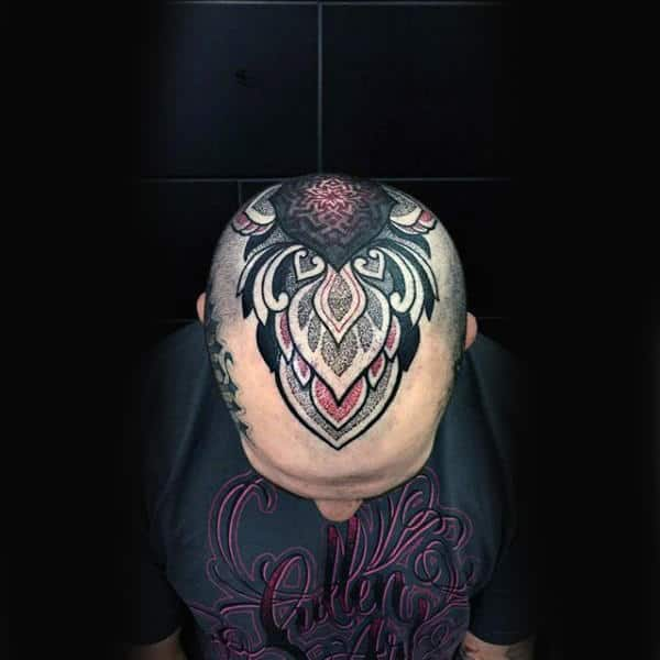 Amazing Mens Colorful Head Tattoo Inspiration Ideas
