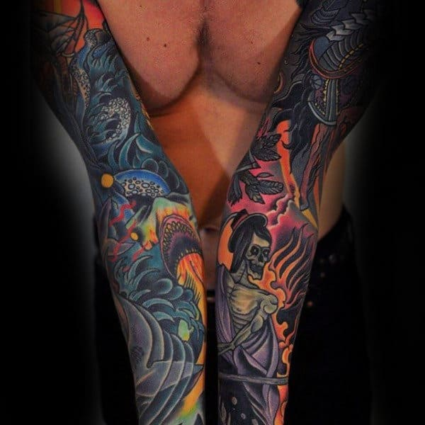 Amazing Mens Colorful Nautical Themed Sleeve Tattoos