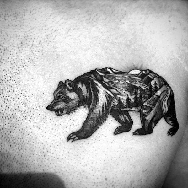 Amazing Mens Cool Tree Bear Upper Chest Tattoo Designs