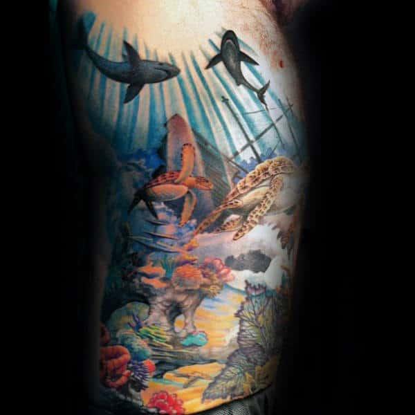 Amazing Mens Coral Reef Rib Cage Side Tattoo Ideas