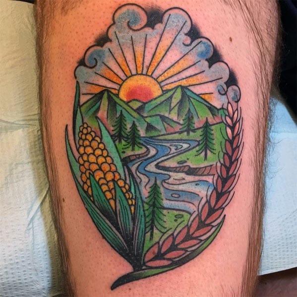 Amazing Mens Corn Tattoo Designs
