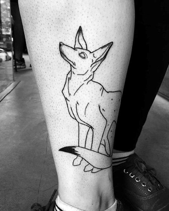 Amazing Mens Coyote Tattoo Designs On Leg
