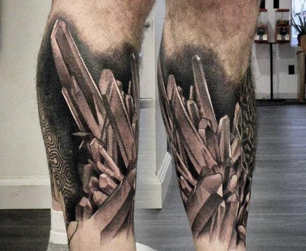 Amazing Mens Crystals 3d Leg Sleeve Tattoo
