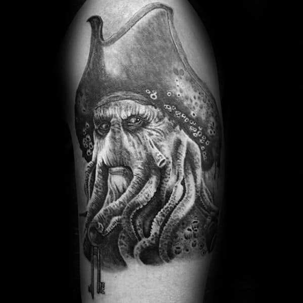 Amazing Mens Davy Jones Tattoo Designs On Arm