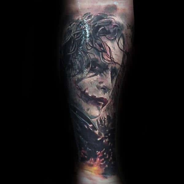 Amazing Mens Detailed Joker Sleeve Tattoo On Legs