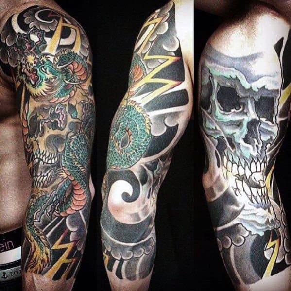 Amazing Mens Dragon Skull Half Sleeve Japanese Tattoos