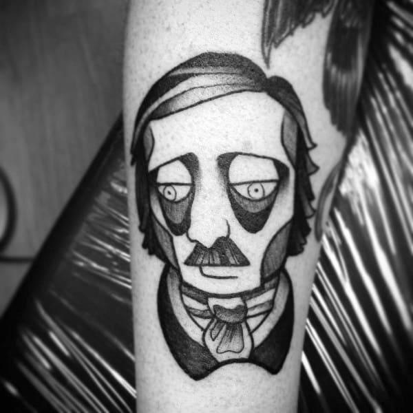Amazing Mens Edgar Allan Poe Tattoo Designs