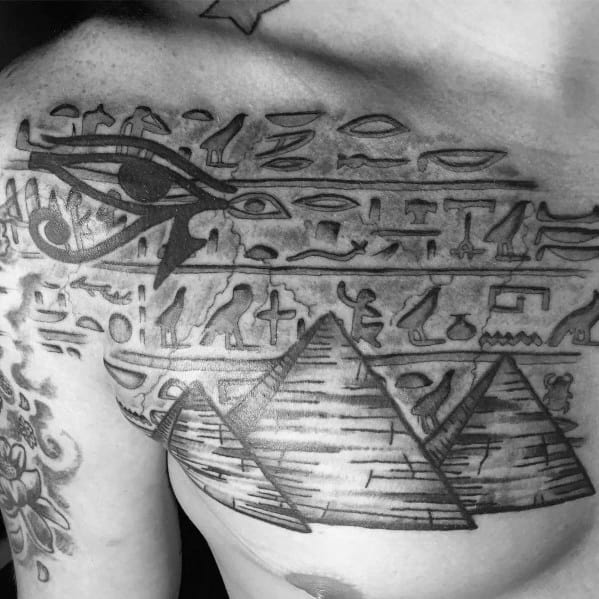 Amazing Mens Egyptian Stone Hieroglyphics 3d Chest Tattoo Designs