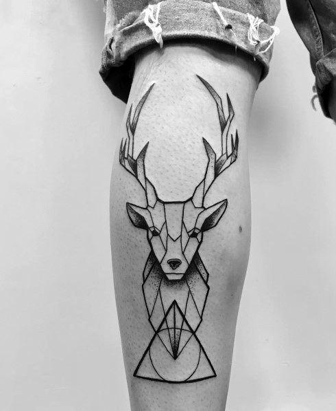Amazing Mens Elk Tattoo Designs Geometric