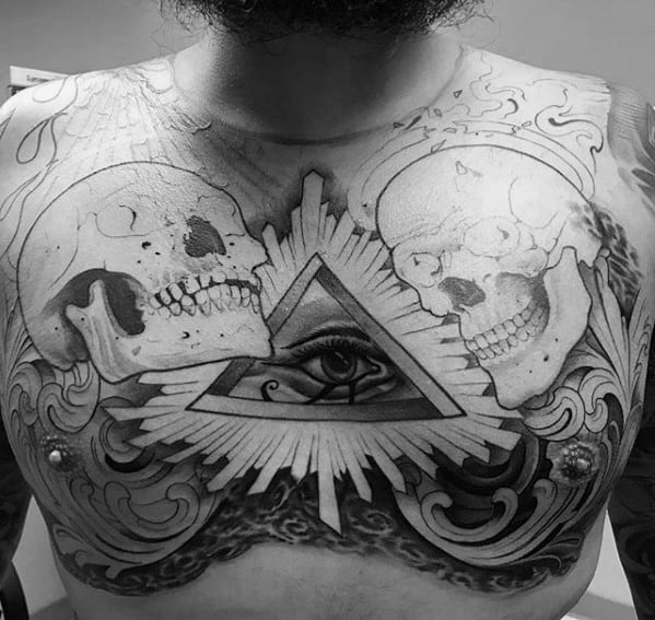 Amazing Mens Eye Of Providence Chest Tattoo