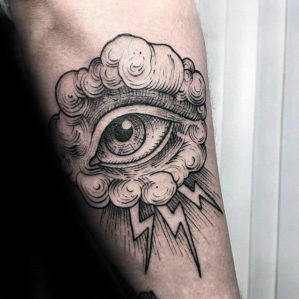 Amazing Mens Eye With Cloud And Thunder Forearm Sketch Tattoo Designs