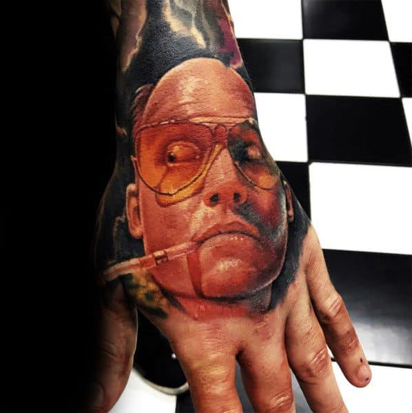 Amazing Mens Fear And Loathing Hunter S Thompson Tattoo On Hand