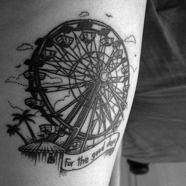 50 ferris wheel tattoo ideas for men amusement ride designs for Ferris wheel tattoo
