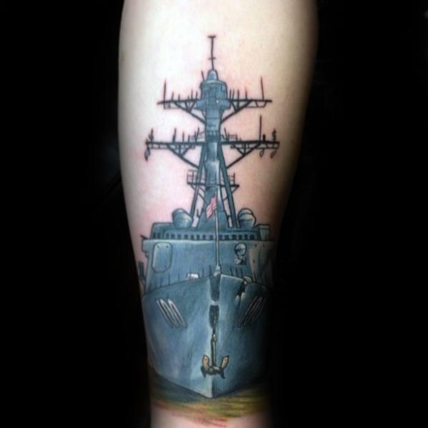 Amazing Mens Forearm Battleship Tattoo Designs