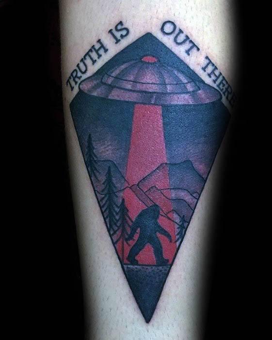 Amazing Mens Forearm Bigfoot Tattoo Designs