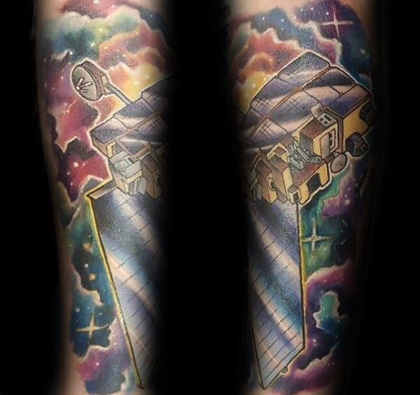Amazing Mens Forearm Sleeve Satellite Tattoo Designs