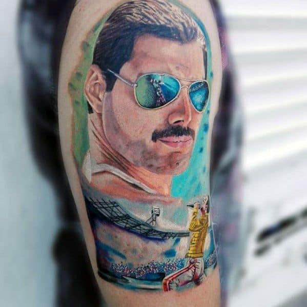 Amazing Mens Freddie Mercury Portrait Arm Tattoo Designs