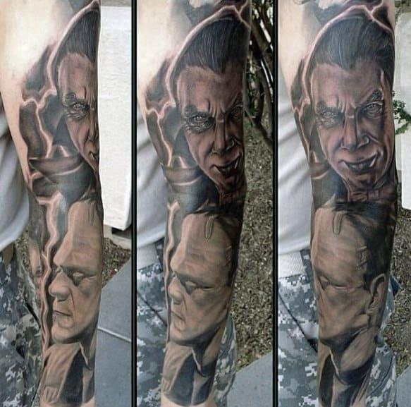 Amazing Mens Full Arm Dracula Themed Sleeve Tattoo