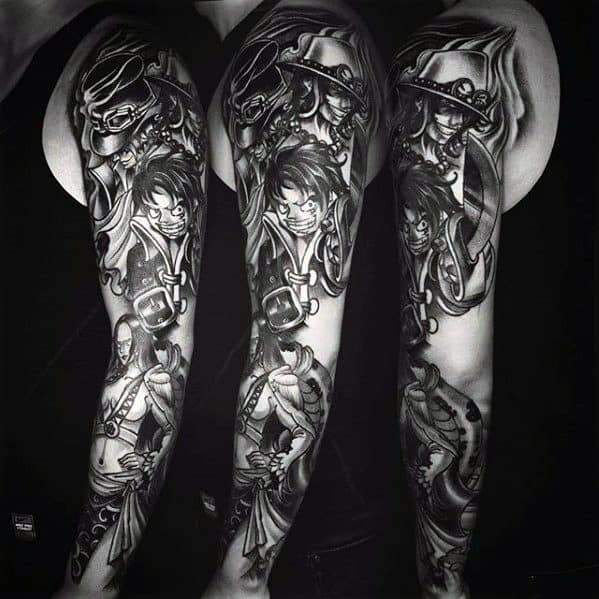 Amazing Mens Full Arm Sleeve Black And Grey One Piece Tattoo Designs