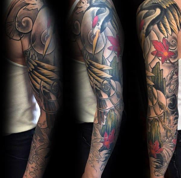 Amazing Mens Full Arm Sleeve Crane Themed Tattoo Ideas