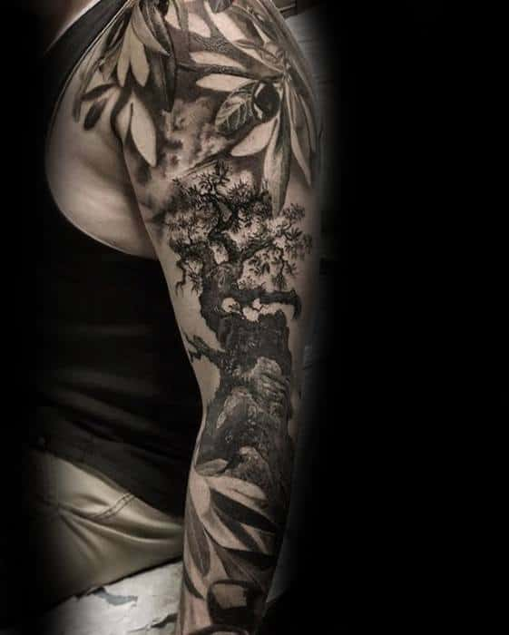 Amazing Mens Full Arm Sleeve Realistic 3d Olive Tree Tattoo Designs