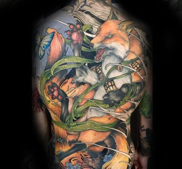 Amazing Mens Full Back Kitsune Themed Tattoo Design